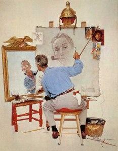 Triple Self-Portrait, by Norman Rockwell
